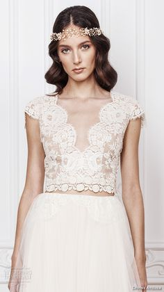 divine atelier 2016 bridal gowns cap sleeves scalloped v neckline lace bodice crop top romantic tulle a line wedding dress open back sweep train (elsa) zv