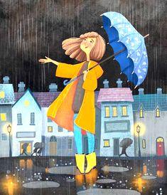 Rain Illustration, Illustrations, Amazing Drawings, Easy Drawings, Painting For Kids, Art For Kids, Rainy Day Drawing, I Love Rain, Rain Days