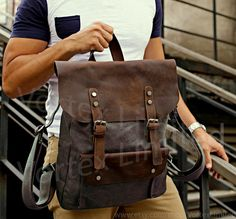 "Men's Backpack - Men's Canvas Leather Backpack in Dark Brown, fits as a 15"" Laptop Bag"