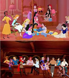 "Disney princesse's and Prince's ""Hanging Out""! Disney Pixar, Walt Disney, Disney Animation, Disney Fan Art, Cute Disney, Disney Girls, Disney And Dreamworks, Disney Villains, Disney Characters"