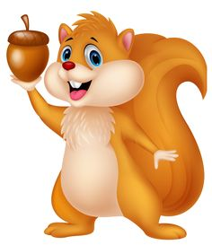 Cute Squirrel with Acorn PNG Cartoon Clipart