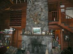 Closer view of stone fireplace