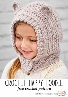 Crochet this easy bear cub hooded hat from my winter kids hats free pattern  roundup! 0a5480e605d