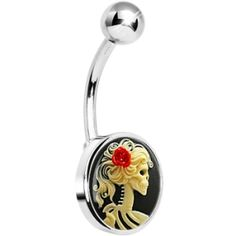 """Red Rose Skeleton Cameo Belly Ring Victorian old world charm cameo navel ring with a gothic twist. Skeleton skull body jewelry. Surgical steel belly ring with a flat logo inlay. Specifications: 14 Gauge (1.6mm), 7/16"""" (11mm), 316L Surgical Grade Stainless Steel, 5mm Ball, Handmade in the USA by penny"""