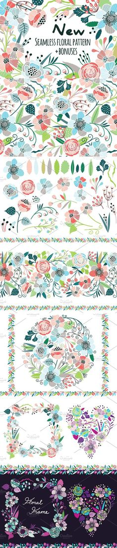Seamless floral pattern + bonuses!. Patterns. $15.00