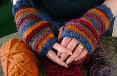 For these cozy and colorful fingerless mitts, I used an array of worsted weight…