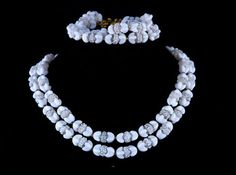 Vintage Crown Trifari Milk Glass Frosted Glass Necklace Bracelet Set  | eBay