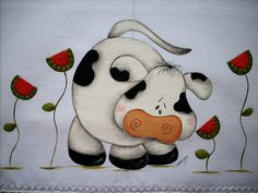 manualidades en tela para cocina pinterest - Buscar con Google Farm Crafts, Country Crafts, Rock Crafts, Cute Crafts, Cow Colour, Tole Painting Patterns, Star Painting, Cute Cows, Funny Cows