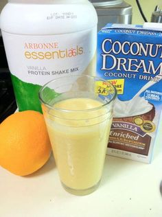 Orange Dreamsicle Protein Shake. Freshly squeezed oranges, coconut milk, 2 scoops of vanilla protein powder, crushed ice.