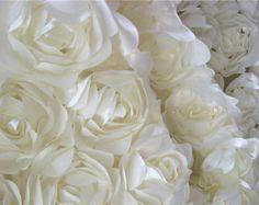 Ivory satin rosette fabric, wedding backdrop fabric, bridal gown fabric, photography backdrop, wedding decors