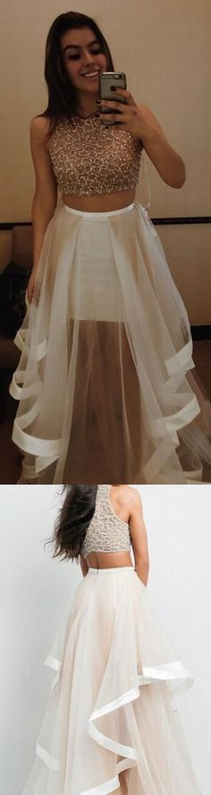 A Line Prom Gown,Sexy Prom Dress, Long Prom Dresses, Two Piece Prom Dress,2 Pieces Party Dresses,Evening Gowns,Champagne Evening Gowns,2 Pieces Formal Gown For Teens