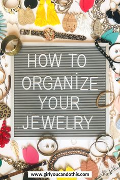 Necklaces, bracelets, earrings, rings, watches… what do you do with it all?!? How do you organize the madness?!? If you need an organized system for your jewelry, I have some good tips for you! Click the image to READ MORE! #girlyoucandothis #girlyoucanorganizethis #organizejewelry #organizeyourjewelry #athome #closet #jewelry #organizingtips #organizingyourjewelry #earrings #necklaces #rings #closetorganization #howtoorganize #closetgoals
