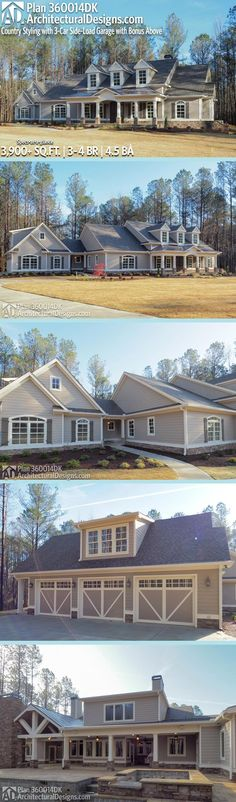 Plan Country Styling with Future Bonus Space Architectural Designs Country House Plan Dream House Plans, House Floor Plans, My Dream Home, Dream Homes, Safe Room, Farmhouse Plans, Next At Home, House Goals, Future House
