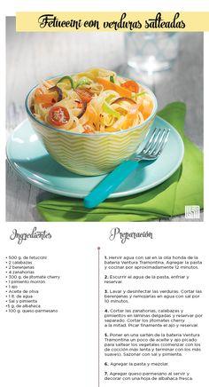 Deleita tu paladar con este Fetuccini de Verduras Salteadas lleno de sabor. #Recetas #Liverpool #Pasta