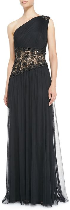 $212, Black Chiffon Evening Dress: Tadashi Shoji One Shoulder Lace Inset Gown. Sold by Neiman Marcus.