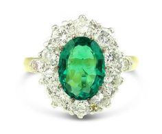 Victorian Style 1.70ct Emerald and 1.20ct Diamond Cluster Ring 18ct Yellow Gold