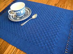 Placemats Cobalt Blue Handwoven Lace by ThistleRoseWeaving on Etsy