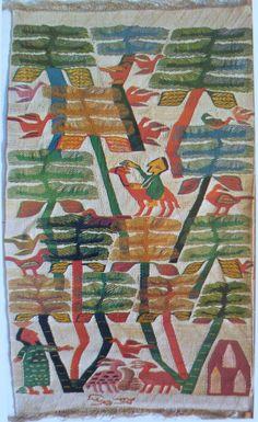 """Myriam Hermina, Palms, Ramses Wissa Wassef Tapestry, Egypt Weaving. Image from """"Das Land am Nil"""" 1979 exhibition catalog by Roemer- und Pelizaeus-Museum, Hildesheim, Germany.  Arne Eggebrecht, Director."""