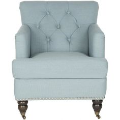 Showcasing button-tufted upholstery and nailhead trim, this stylish arm chair is a perfect addition to your living room or den seating group.