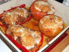 Cinco sentidos na cozinha: Tomates e pimentos recheados com carne picada no forno