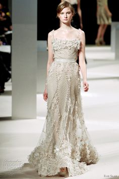 Wedding Dress Bride hair, bride makeup this is so pretty Elie Saab Bridal Spring 2011 couture wedding dress inspiration Elie Saab Bridal, Bridal Gowns, Wedding Dresses, Bride Dresses, Beautiful Gowns, Beautiful Outfits, Couture Dresses, Fashion Dresses, Couture Fashion