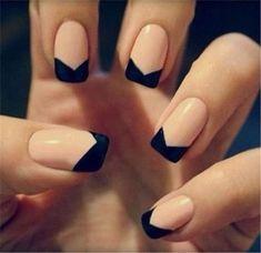 Black Reverse Chevron French Tip Nail Art #nailart
