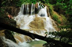 Reading - Location : Erawan waterfall ( 6th floor ), Kanchanaburi province