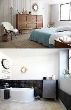 Fanny and Pascal François have transformed an old factory building near Lille, France, into a beautiful family home. Despite the industrial characteristics of the building, they managed to create a wa Dream Bedroom, Home Bedroom, Master Bedroom, Beautiful Interiors, Beautiful Homes, Old Factory, French Country House, Cool House Designs, Bedroom Styles