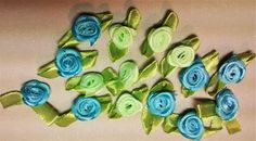 RR-105 Blue and Green Ribbon Roses