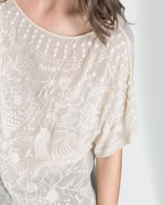 BLOUSE WITH EMBROIDERED FRONT - Shirts - Woman   ZARA United States