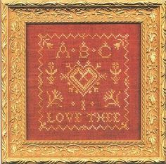 C Street Samplerworks ABC I Love Thee - Cross Stitch Pattern. Model stitched on 30 Ct. Aztec Red linen by Weeks Dye Works with Thread Gatherer Silk N Colors. <b