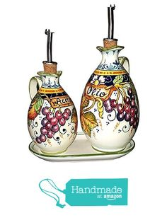 CERAMICHE D'ARTE PARRINI - Italian Ceramic Set Cruet Oil And Vinegar Art Pottery Hand Painted Made in ITALY Tuscan from CERAMICHE D'ARTE PARRINI since 1979 http://www.amazon.com/dp/B019CUQ7R8/ref=hnd_sw_r_pi_dp_0LVixb1JT9KM6 #handmadeatamazon
