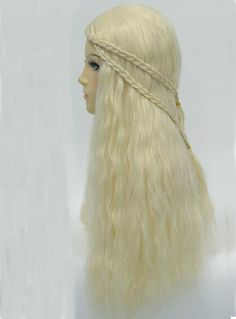 Hot Sale Cosplay Long Curly Milk White Synthetic Hair Wig