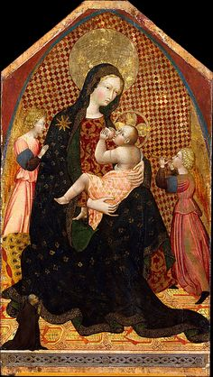 Madonna and Child with Two Angels and a Donor  Giovanni di Paolo (Giovanni di Paolo di Grazia)   (Italian, Siena 1398–1482 Siena)    Date: ca. 1445  Medium: Tempera on wood, gold ground (partly checkered with modern red glazes)  Dimensions: Shaped top: overall 57 1/8 x 32 in. (145.1 x 81.3 cm); painted surface 54 1/4 x 32 in. (137.8 x 81.3 cm)  Classification: Paintings