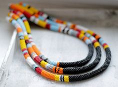 African Multistrand Necklace Three Strand by HeriniasJewelryChest, $99.00