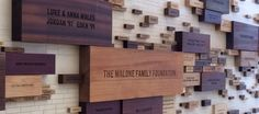 2014 - Donor Wall - Wilmington Friends School. Same idea with different color stained woodblocks, varying sizes.