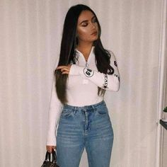Going Out Outfits, Cute Outfits, Gothic Tops, Body Suit Outfits, Sport Pants, Fashion Outfits, Womens Fashion, Fasion, High Collar