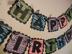 Animal Print Birthday Banner, Cheetah, Zebra, Leopard