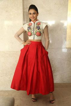 Shop Bollywood Style Rakul Preet singh white and red color bangalori silk lehenga choli at kollybollyethnics with free shipping offer to USA, UK, Australia,Canada and many countries.