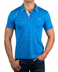 Polos Hugo Boss ® Azul - Paule 3 | ENVIO GRATIS Camisa Polo, Athleisure, Hugo Boss, Cycling Outfit, Golf Shirts, Men Dress, Casual Shirts, Men Sweater, Mens Fashion