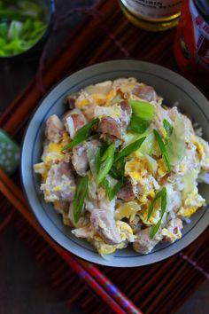 Oyakodon (Japanese Chicken and Egg Rice). #chicken #egg #rice #recipe