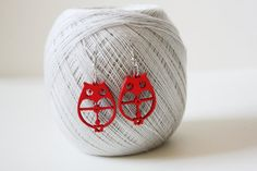 Red Owl Cut  Wood Earring by muiwish on Etsy, $4.50