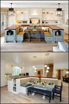 A kitchen island with built-in seating is a great option if you are into breakfast nooks but your kitchen layout can't accommodate the usual design for it - built in a corner, adjacent to a wall. Do you want to have a kitchen island with built-in seating Kitchen Island Booth, Kitchen Booths, Booth Seating In Kitchen, Kitchen With Island Seating, U Shaped Kitchen Island, Kitchen Island With Table Attached, Built In Dining Room Seating, L Shaped Island, Kitchen Island Dining Table