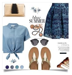 """""""Blue Summer"""" by wuteringheights ❤ liked on Polyvore featuring Miss Selfridge, Maje, FitFlop, Christian Dior, Terre Mère, In Your Dreams and Kenneth Jay Lane"""