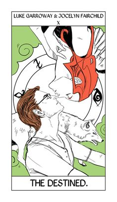 Luke and Jocelyn take the Wheel of Fortune card, here renamed the Destined, as it represents stability amid chaos and change. Luke and Jocelyn's relationship survived chaos, a war, a rebellion, her terrible marriage, his turning into a Downworlder, and much more. Theirs is a great if quiet love. :)
