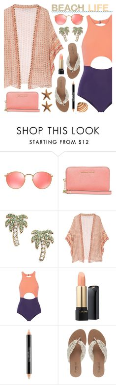 """""""Beach Life"""" by lgb321 ❤ liked on Polyvore featuring Ray-Ban, Michael Kors, Mes Demoiselles..., Flagpole, Lancôme and Wet Seal"""