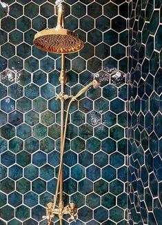 Love the color of the hexies with the gold! upstairs bathroom yes please simple modern bathroom design minimal home decor bathroom decor design home minimal Decoration Inspiration, Bathroom Inspiration, Bathroom Ideas, Decor Ideas, Bathroom Colors, Small Bathroom, Master Bathroom, Bathroom Designs, Bathroom Renovations