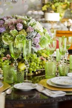Green grapes, lavender roses, cabbage, pears and figs; green stemware and tumblers