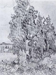 Cypresses, 1889 by Vincent van Gogh. Post-Impressionism. sketch and study
