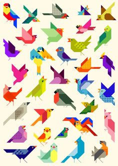 diversity Bird diversity on Behance.Bird diversity on Behance. Bird Illustration, Graphic Design Illustration, Vogel Quilt, Bird Quilt Blocks, Animal Quilts, Bird Drawings, Art Graphique, Bird Prints, Geometric Art